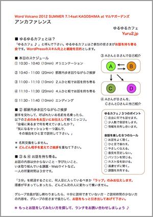 WordVolcano 2012 鹿児島:アンカファレンス:ゆるゆるカフェ:レジュメ